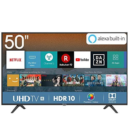 Hisense H50BE7000 – Smart TV 50′ 4K Ultra HD con Alexa Integrada, 3 HDMI, 2 USB, salida óptica y de auriculares, Wifi, HDR, Dolby DTS, Procesador Quad Core, Smart TV VIDAA U 3.0 con IA